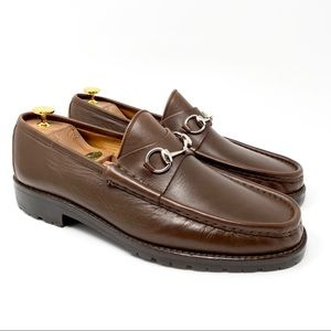 GUCCI Brown Leather Silver Horsebit Luxury Loafer
